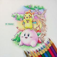 Pikachu's Dream Land. #Kirby #Crayola #Illustration