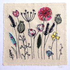 art, hand painting, painting,Wildflower meadow greeting card, machine embroidered stitched fabric applique. Birthday blank. Seed heads, nature, wildlife