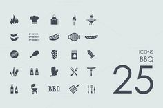25 BBQ icons by Palau on Creative Market