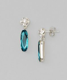 Look what I found on #zulily! Blue & White Crystal Drop Earrings #zulilyfinds