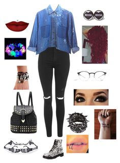 """""""Untitled #167"""" by oreokitkat ❤ liked on Polyvore featuring Topshop, Mykita, CO, Dr. Martens and Anastasia Beverly Hills"""
