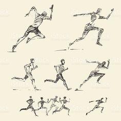 Set drawn running man healthy vector sketch royalty-free stock vector art