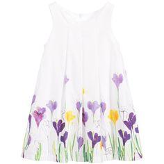 White Dress with Purple & Yellow Crocus | Balloon Chic | VogaCloset | for girls 2 - 12 years |