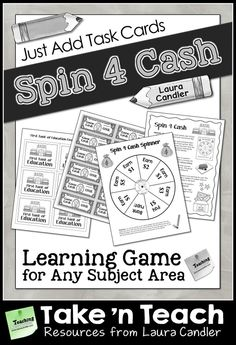 Spin 4 Cash is an exciting learning game in which students solve problems or answer questions and spin to win game cash. Just add your own task cards to customize it for any subject! $ #Laura Candler