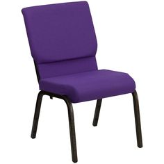 "Always keep your crowd comfortable with this durable, attractive 18 1/2"" wide cushioned church chair. Featuring purple fabric upholstery and a convenient, stackable storage design, this model is ideal for use at churches, banquet halls, waiting rooms, convention centers and more! <br><br> This stylish conference / church chair features a 4 1/4"" thick cushion with a waterfall-edge seat design to reduce leg strain and a padded backrest for maximum comfort. A rear-mounted book pouch comes…"
