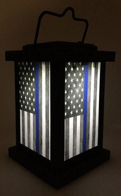 Police Solar Light - Thin Blue Line American Flag - Mini house - New! Brotherhood Light of Hope, Law Enforcement Thin Blue Line American Flag Solar Light, Indoor Ou - Police Officer Gifts, Police Gifts, Police Flag, Solar Lanterns, Solar Lights, Police Wife Life, Police Family, Lantern Set, Thin Blue Lines