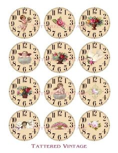 Romantic Collection of Victorian Ephemera Clock Faces 2.25 inch Circles Digital Collage Sheet Tattered Vintage no.164