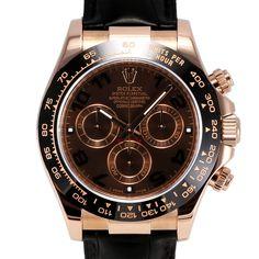Men's Rolex Daytona Rose Gold Chocolate Brown Dial Tachymeter Engraved Bezel Black Leather Strap