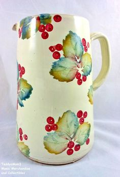 Large 36 oz Italian pottery pitcher. Hand thrown, crafted & painted terracotta.  Nicola Fasano Ceramiche Italian Pitcher Hand Crafted Grottaglie Leaves Berries #Nicola Fasano, #Italian Pottery http://stores.ebay.com/manicmerchandiseandcollectibles/Other-/_i.html?_ipg=48&_fsub=4564242016