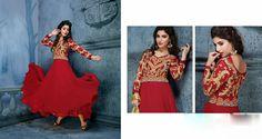 USD 135.72 Crimson Georgette Ankle Length Designer Anarkali Suit 39597