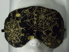 Herbal Hot/Cold Therapy Sleep Mask with adjustable and removable strap Spiders and Webs