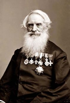 """You are viewing an important image of Samuel F. B. Morse. It was taken between 1855 and 1865.    The picture shows Samuel F. B. Morse, inventor of the telegraph, and the now famous """"Morse Code""""."""