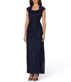 Tahari by ASL Sleeveless Sparkle Lace Rouched Column Gown