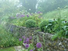 Garden in Dorset - flower beds & stone walls