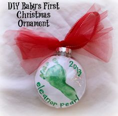 DIY Baby's First Christmas Footprint Ornament {For Under $2} - Bare Feet on the Dashboard