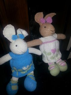 knitted toys rabbits