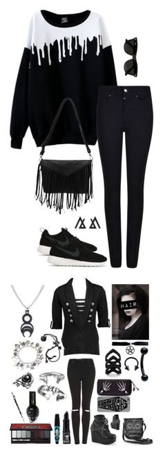 """cute"" by jadahoran123 ❤ liked on Polyvore featuring Armani Jeans, NIKE, Ray-Ban, Topshop, Daytrip, Demonia, Loungefly, Kat Von D and Rimmel"