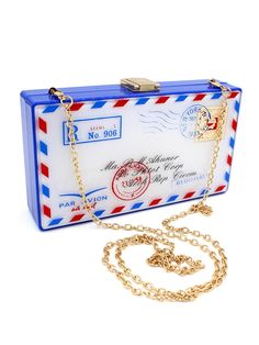 Blue Envelope Shape Chain Clutch Bag