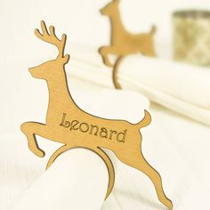 four personalised reindeer napkin rings by neltempo | notonthehighstreet.com