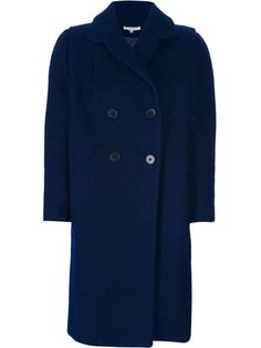 Dark blue cotton, wool and mohair blend coat from Carven featuring a notched lapel collar, long sleeves and a double breasted front button fastening.