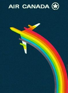 Vintage Travel Poster: Jets and Rainbow contrails. Rainbow poster for EL AL Israel Airlines - Design by Dan Reisinger Graphisches Design, Layout Design, Brand Design, Logo Design, Image Blog, Design Graphique, Vintage Travel Posters, Vintage Airline, Vintage Ski