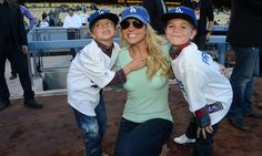 Super cute pic of Britney & her boys at the LA Dodgers game on April 17, 2013