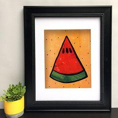 Watermelon Art Print - Watermelon Decor - Kitchen Art - Watermelon Slice Wall Art - Vegetarian or Fruit Lover Gift - Giclee Poster Watermelon Decor, Watermelon Slices, Collage Art Mixed Media, Orange Background, Kitchen Art, Medium Art, Giclee Print, Art Decor, Light Orange