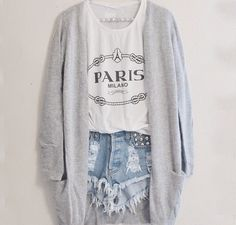High waisted shorts with a t-shirt and a long sweater is such an adorable relaxed outfit. Fashion Mode, Teen Fashion, Love Fashion, Fashion Outfits, Womens Fashion, Hipster Fashion, Fashion Ideas, Style Fashion, Fashion Clothes