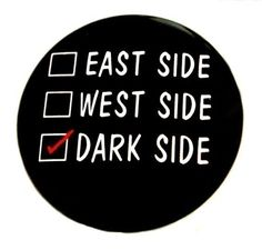 Dark Side Check  Button Pinback Badge 1 1/2 inch by theangryrobot