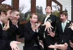 Gasping Grooms Photo