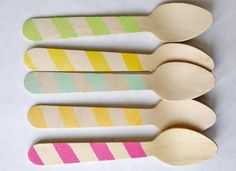 20 Wood Ice Cream Spoons - Graphic Stripes in Great Colors - SucreShop, $8,00
