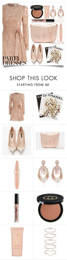 """""""#PolyPresents: Party Dresses"""" by tropichild ❤ liked on Polyvore featuring Zimmermann, Assouline Publishing, Louis Vuitton, Ted Baker, Maybelline, Hueb, NYX, Gucci, Mia Sarine and contestentry"""
