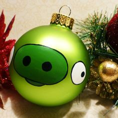 Angry Birds Green Pig Glass Ornament Hand by CharmedByMlem, $20.00