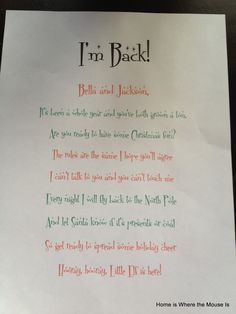 i back letter from elf on the shelf - Google Search