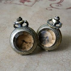 """Miniature Pocketwatch Cuff Links-Steampunk-Neo Victorian-Functioning Watches-Antique Bronze -- """" 'What time is it?' Oh, let me just check my cuff links..."""""""