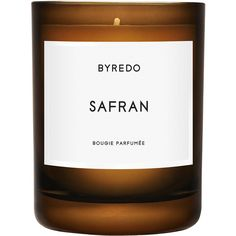 Byredo Parfums Safran Candle 240g (525 DKK) ❤ liked on Polyvore featuring home, home decor, candles & candleholders, candles, fillers, other, vanilla scented candles, golden rod, wick candles and byredo candles