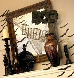 halloween deco .. do with old window frame outdoors instead?