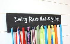 Running Medal Holder - Every Race Has a Story - Large Running Medals, Medal Holders, Painted Letters, Hand Painted, Picture Hangers, Scroll Saw Patterns, Used Vinyl, Recycled Art, Shop Signs