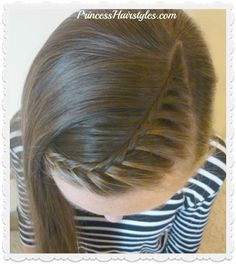 Lace Braid Part Line Hairstyle Tutorial. - New Hair Cute Hairstyles For School, Cool Braid Hairstyles, Cute Girls Hairstyles, Hairstyle Ideas, Hairstyle Tutorials, Princess Hairstyles, Braids For Short Hair, Short Hair Styles, Braid Styles