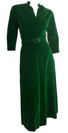 Emerald green velveteen belted dress, 1940s. DCV.