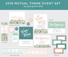 ** PEACE IN CHRIST INSTANT DOWNLOAD BEAUTIFUL EVENT SET ** This kit will help you decorate and stay organized for Young Womens in 2018. Easy to print and use at home or send to your favorite print shop. * Special Event Set* New Beginnings Invitation - 2 styles (just add your info)