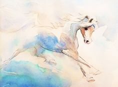 Watercolor Giclee Horse Art, Watercolor Horse Drawing, Watercolor Pen and Ink Painting, Blue and White , Horse Gift, Gift for Her, Fine Art