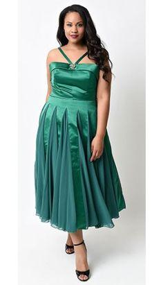 Iconic by UV Plus Size Emerald Satin & Chiffon Dovima Ballerina Swing Dress