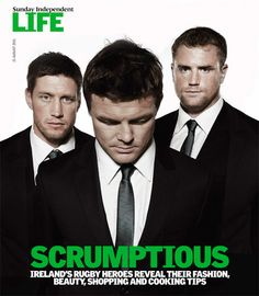 Irish Rugby Football Union Shoot for Sunday Indedendent Life Magazine featuring Ronan O'Gara, Brian O Driscoll and Jamie Heaslep © David Cantwell Photography....Love O'Driscoll's broken/crooked nose!
