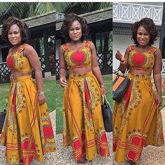African Circle Skir Set - African Maxi Skirt Set - Ankara Circle Skirt Set- Dashiki Crop Top - theafricanshop