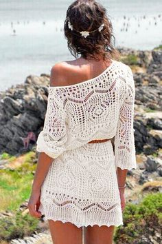 White See-Through Lace Crochet Dress - US$19.95 -YOINS