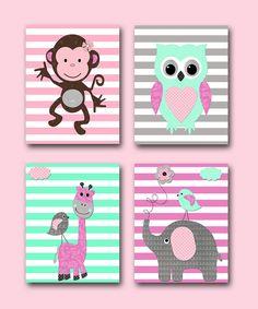 Monkey Nursery Elephant Nursery Baby Girl Nursery Art Print Children Wall Art Baby Room Decor Owl Nursery Giraffe Nursery set of 4 8x10 Pink