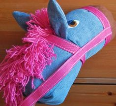 a stick horse out of an old pair of jeans