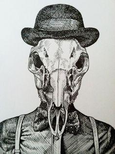 Masculine Gentleman Buck Skull Composite Pen and by boneandinks