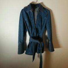"""Belted Jean jacket with gold embroidery Jean jacket with one brass snap button. Matching horizontal gold embroidery on collar, cuffs, and removable belt. I call it """"a denim kimono."""" Classiques Entier Jackets & Coats Jean Jackets"""